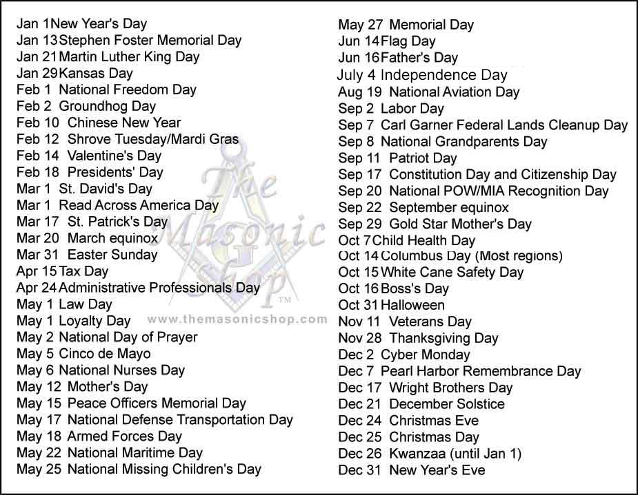 Yearly Calendar Observances | just b.CAUSE