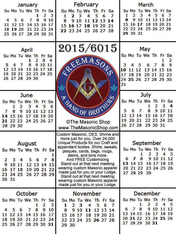 2015 Free Printable Masonic Calendar from The Masonic Shop